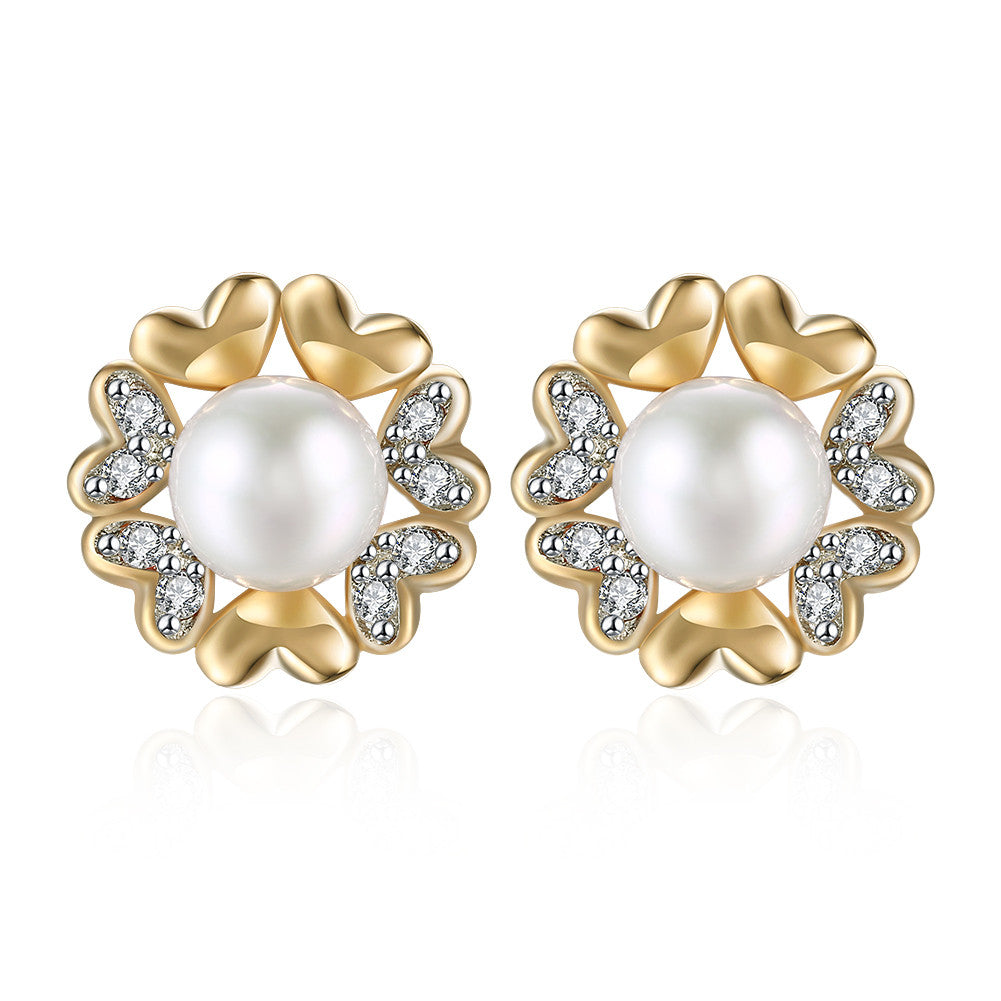 Swarovski Crystal 18K White Gold Plated Heart Pearl Stud Earring - CharmToSpare