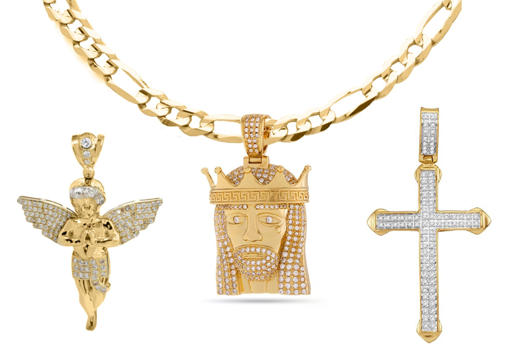 18K Gold Plated Religious Cross Set - Fiagro Necklace + 3 Pendants - CharmToSpare