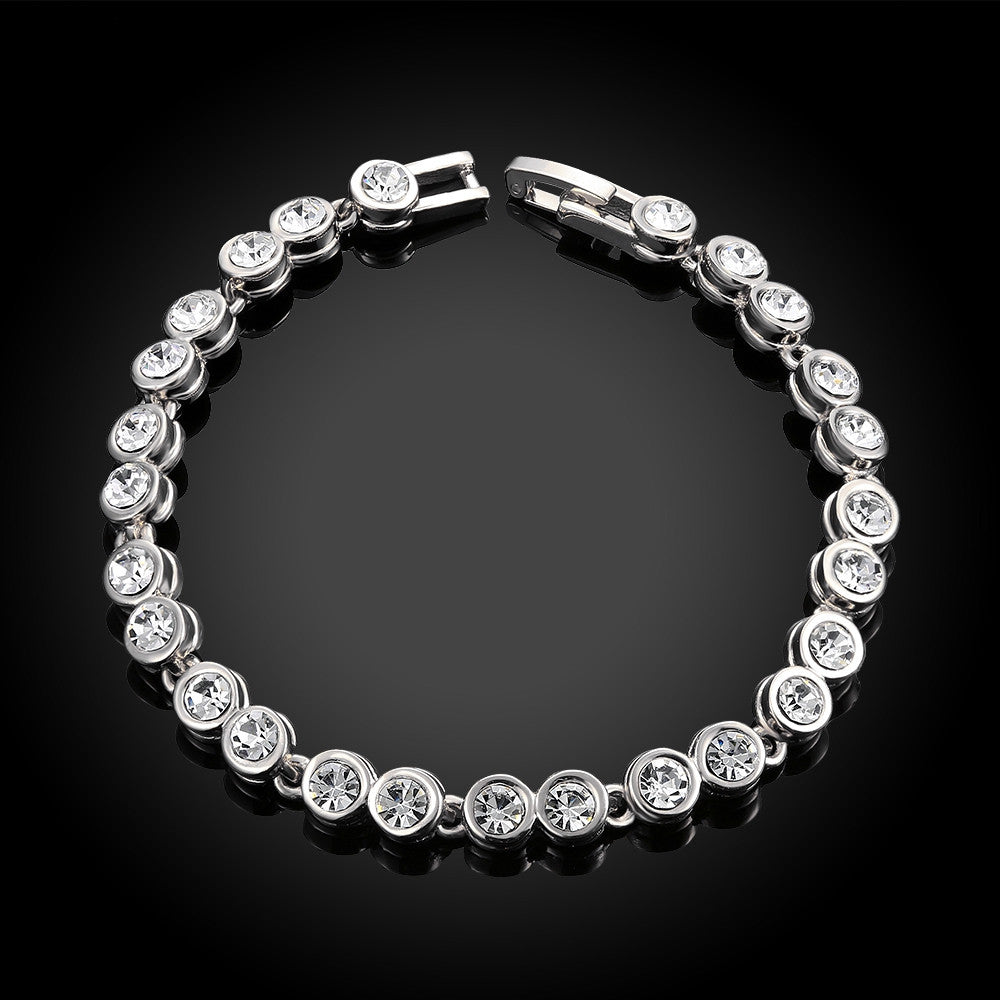 Around the World 18K White Gold Plated Bracelet - CharmToSpare