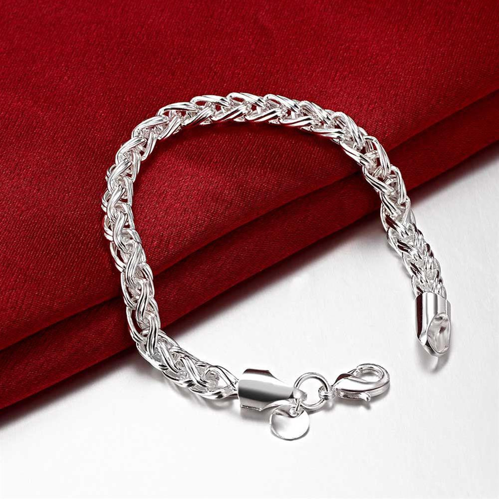 Byzantine Bracelet Chain in 18K White Gold Plated - CharmToSpare