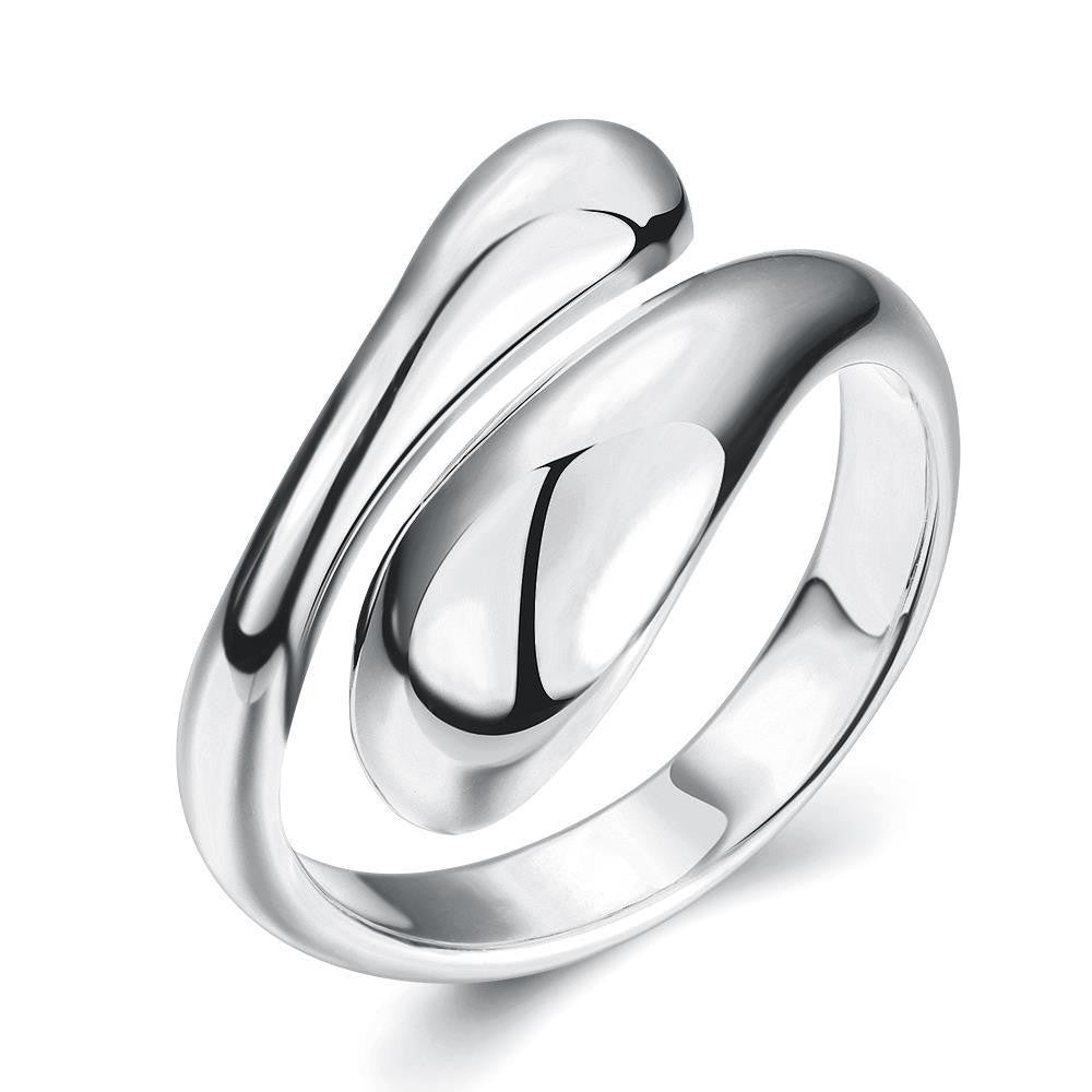 White Gold Plated Matrix Cut Adjustable Ring - CharmToSpare