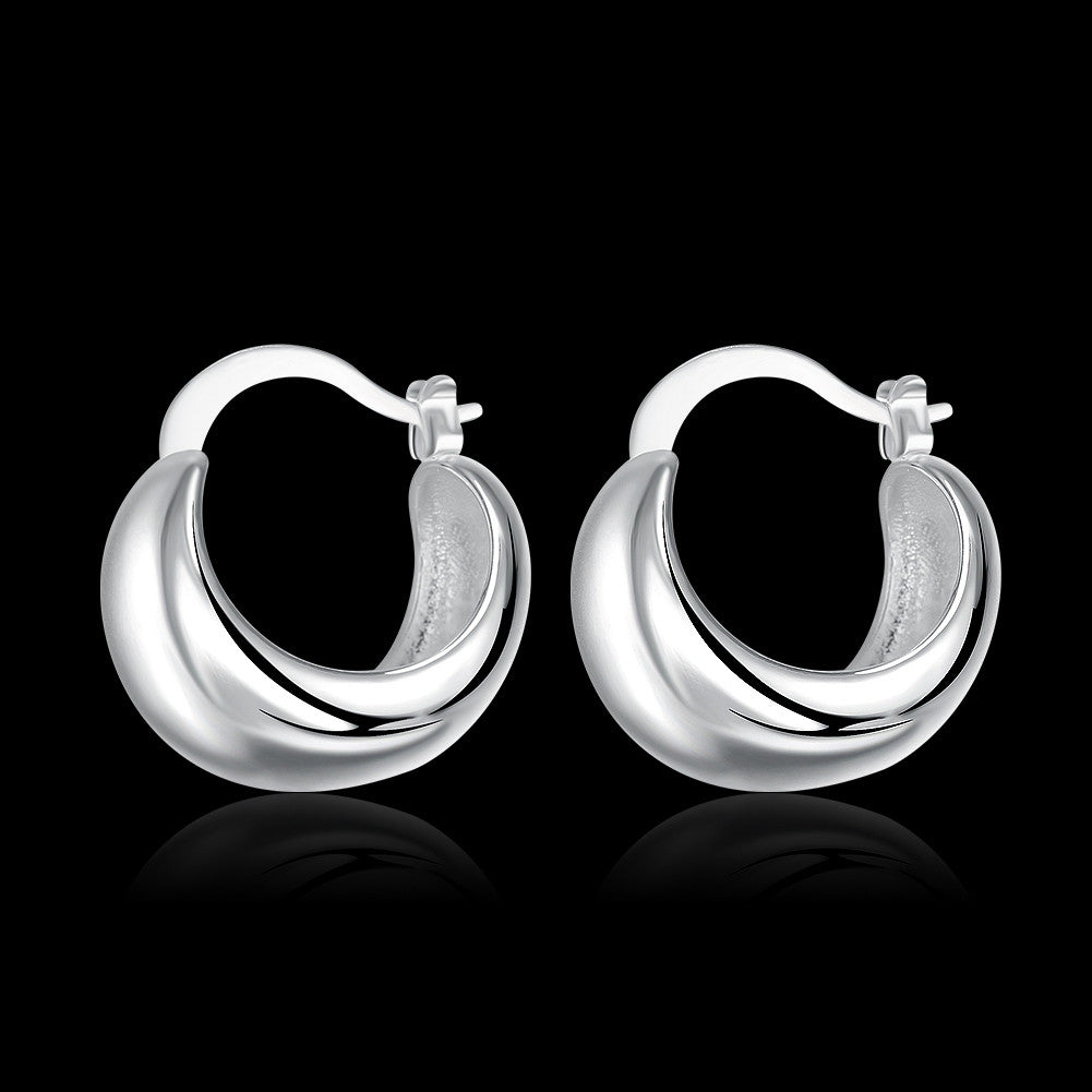 18K White Gold Plated Geometric Earring - CharmToSpare