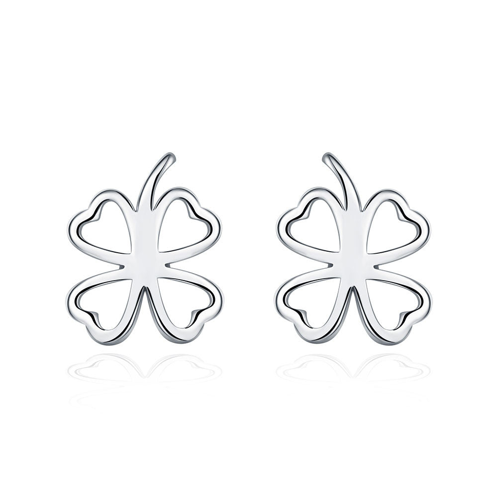 18K White Gold Plated Hollow Laser Cut Stud Earring - CharmToSpare