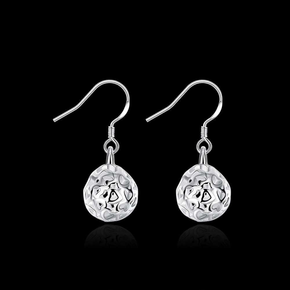 18K White Gold Plated Laser Cut Ball Drop Earring - CharmToSpare