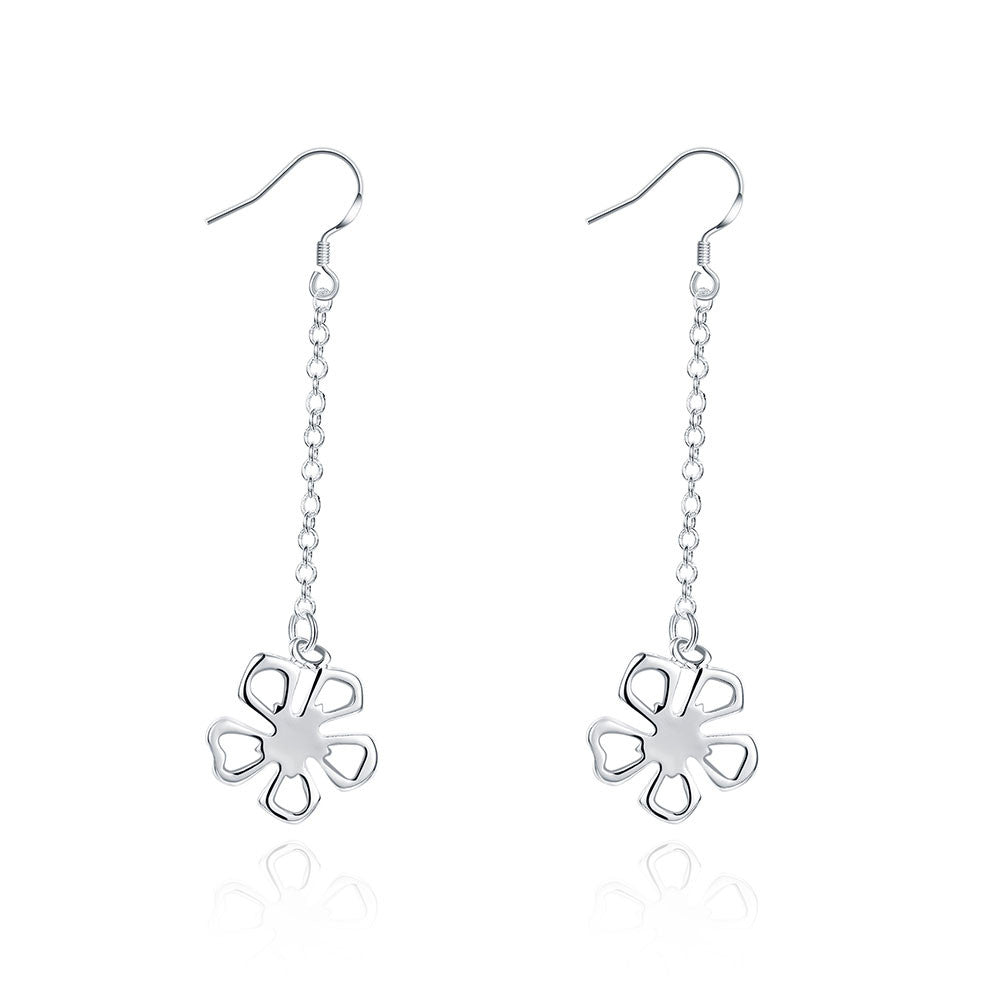 18K White Gold Plated Hollow Clover Drop Earring - CharmToSpare