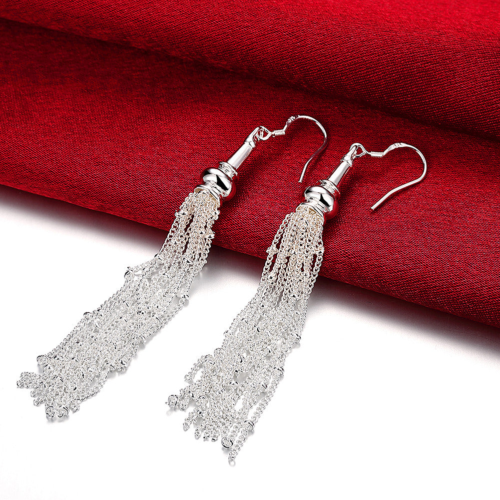18K White Gold Plated Drop Linear Drop Earring - CharmToSpare