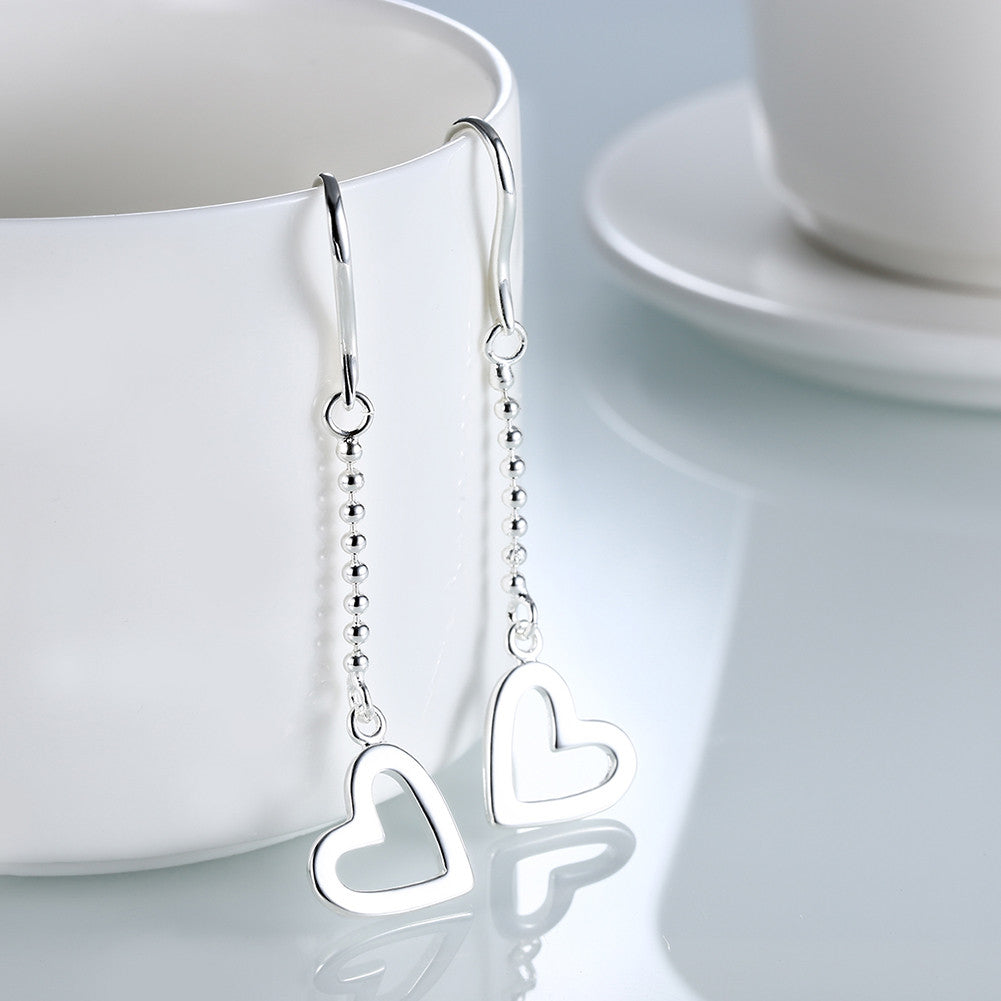 18K White Gold Plated Drop Hollow Hearts Earring - CharmToSpare