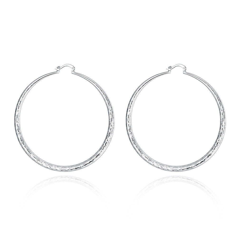 18K White Gold Plated Large Gap Classic Hoops - CharmToSpare