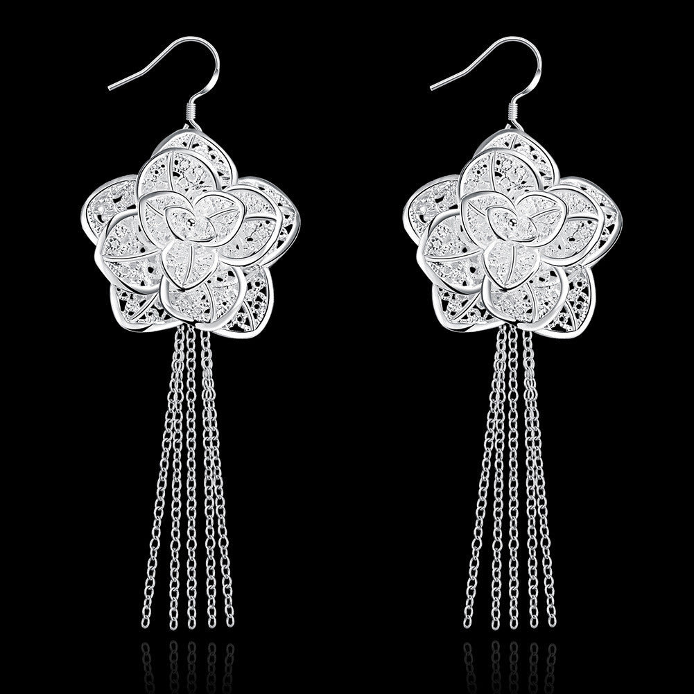 18K White Gold Plated Drop Floral Petal Earring - CharmToSpare