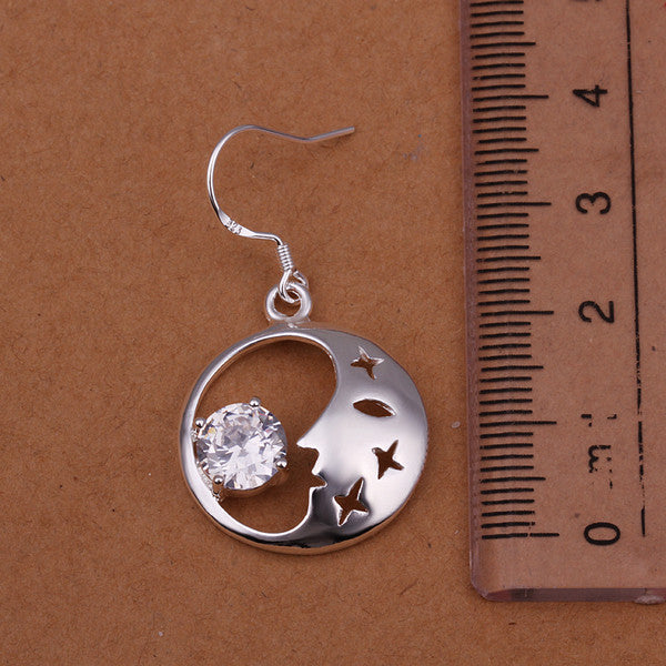 18K White Gold Plated Good Night World Earring - CharmToSpare