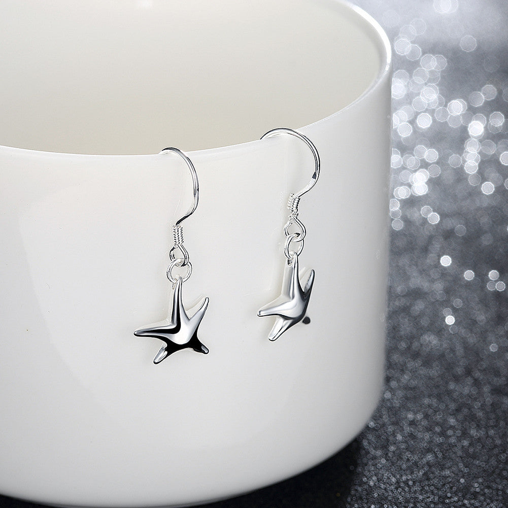 18K White Gold Plated Drop Start Fish Earring - CharmToSpare