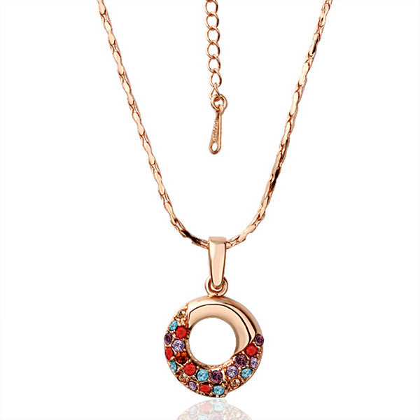 Rose Gold Plated Oval Shaped Rainbow Jewels Covering Necklace - CharmToSpare