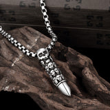 Bullet Skull Emblem Stainless Steel Necklace - CharmToSpare