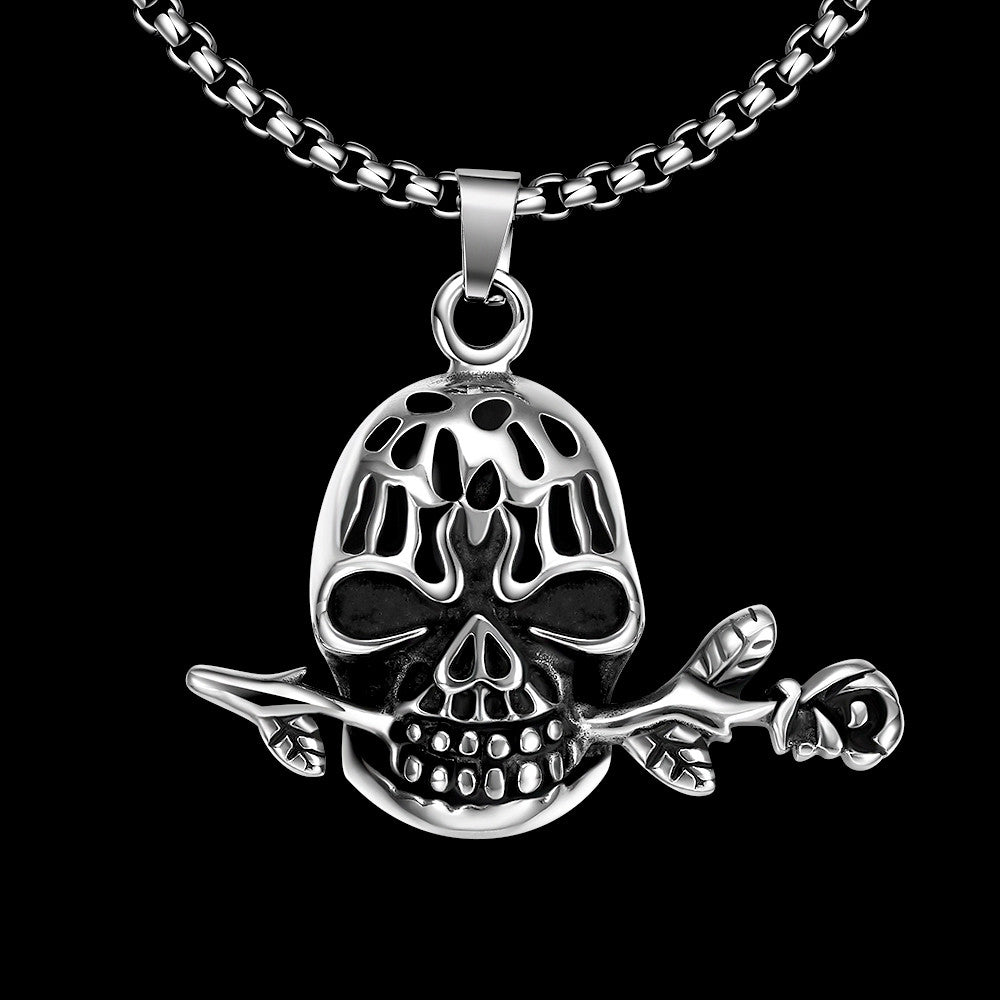 Skull's Rose Emblem Stainless Steel Necklace - CharmToSpare