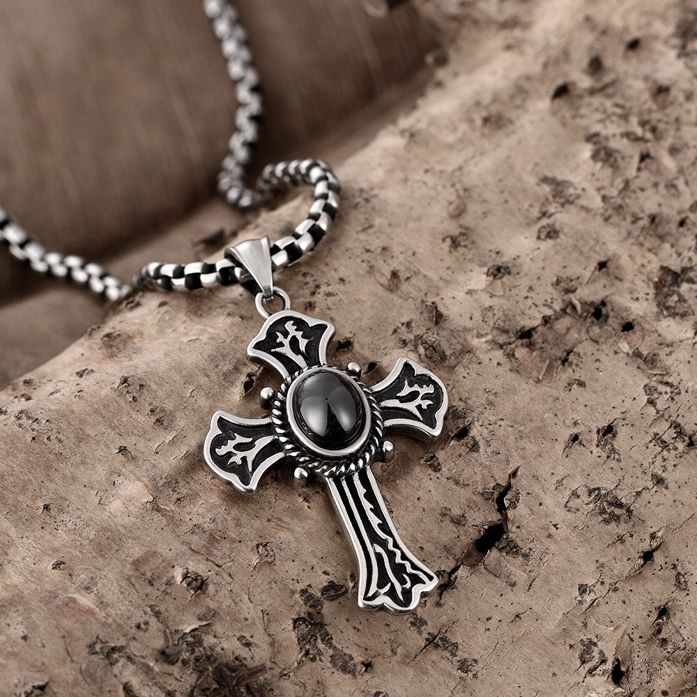 Black Pearl Cross Stainless Steel Necklace - CharmToSpare