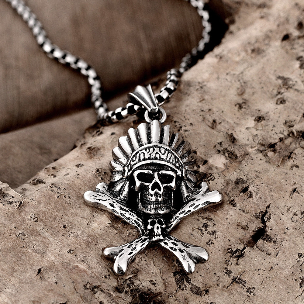 Chief Skull Emblem Stainless Steel Necklace - CharmToSpare