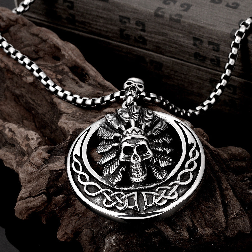 Chief Circular Emblem Stainless Steel Necklace - CharmToSpare