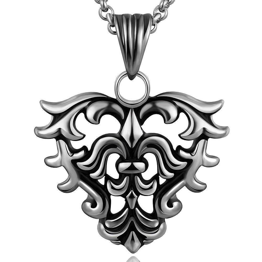 Hollow Hearts Emblem Stainless Steel Necklace - CharmToSpare