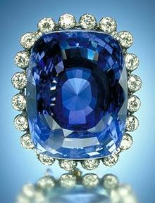 Logan Sapphire with diamonds surrounding