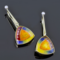 Gold dangle earrings  with yellow, blue, orange and red triangular insert.