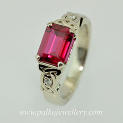 Rectangle shaped Red Ruby stone in Celtic white ring