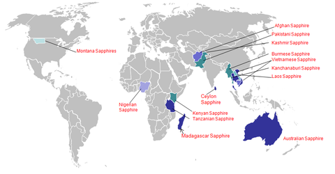 world map showing locations of sapphire mining