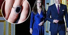 Princess Catherine wearing Blue Sapphire and Diamond Engagement ring