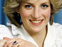 Princess Diana with Blue Sapphire and Diamond engagement ring