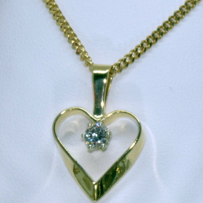 14K Canadian Diamond Ribbon Heart Pendant