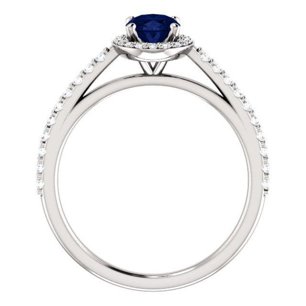 White gold Blue Sapphire Oval cut with diamond halo ring, side view