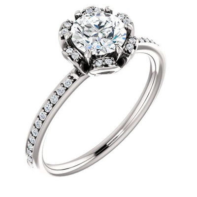 14K White 5.2 mm Round 1/6 ctTW Diamond Semi-Set Engagement Ring