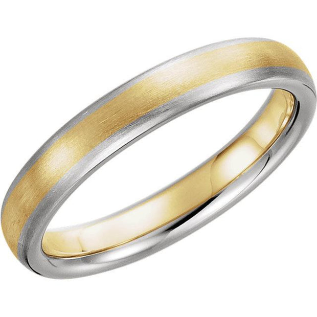 14K Two Tone 4mm Comfort-Fit Band