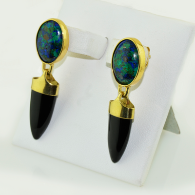 18K  Azur-Malachite Earrings By  Christopher Palko
