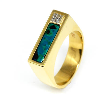 14K Azur-Malachite & Diamond Designer Ring