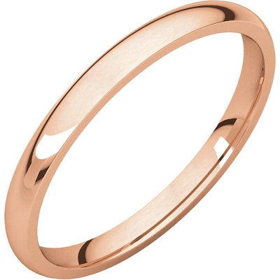 Rose Gold Comfort fit band, the fit is rounded against the finger and domed away from the finger.