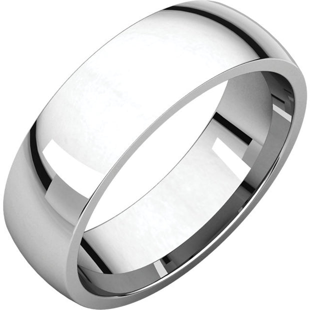 Platinum Comfort fit band, the fit is rounded against the finger and domed away from the finger.