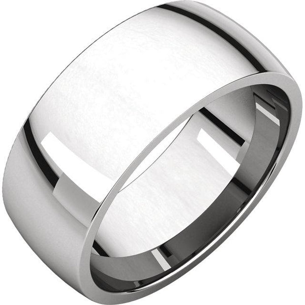 White gold Comfort fit band, the fit is rounded against the finger and domed away from the finger.