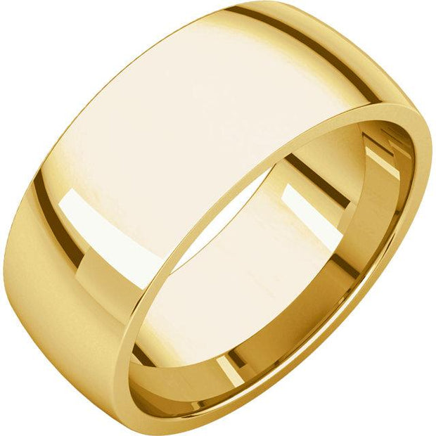 Yellow Gold Comfort fit band, the fit is rounded against the finger and domed away from the finger.
