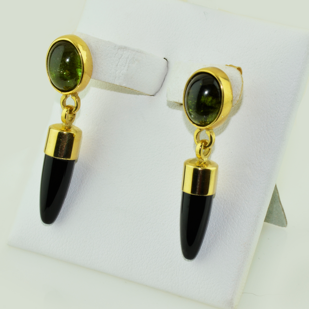 18K Green Tourmaline & Black Onyx Earrings by Christopher Palko