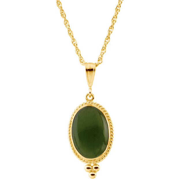 "14K Yellow Oval Cabochon Nephrite Jade 18"" Necklace"