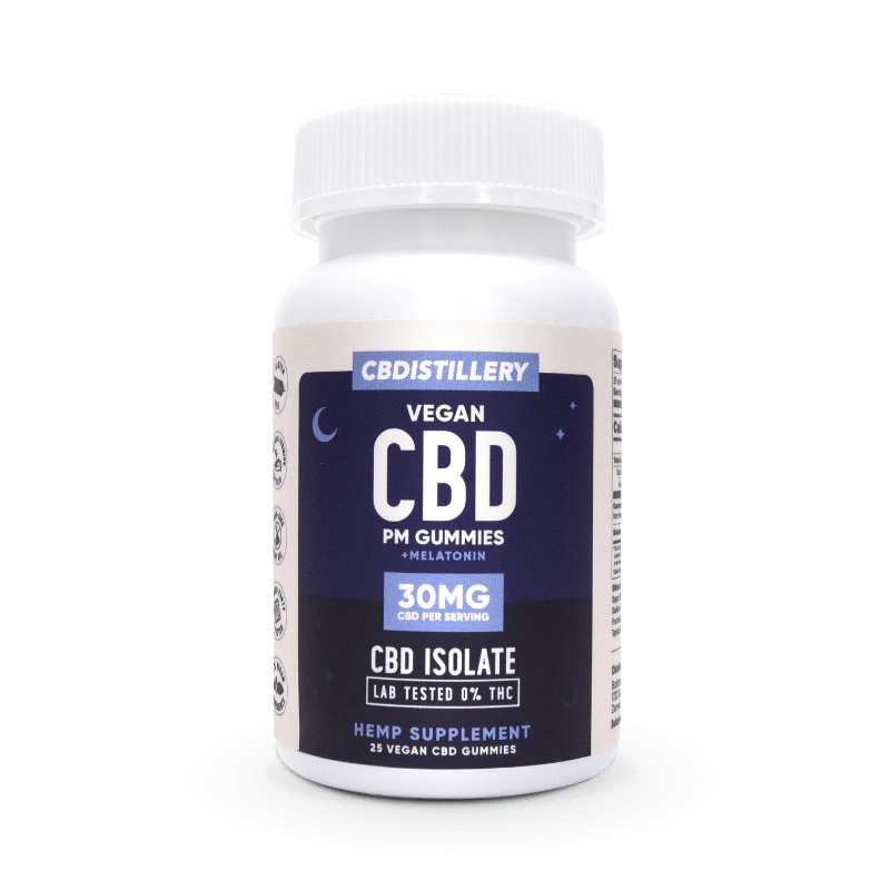 CBDistillery CBD Night-Time Gummies PM 30mg 750mg Isolate Melatonin