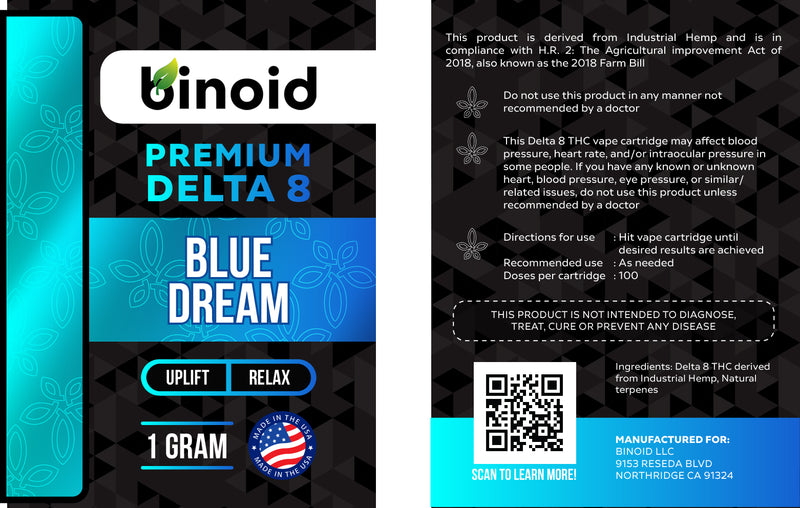 Delta 8 THC Vape Cartridge Buy Online Blue Dream Hybrid Legal