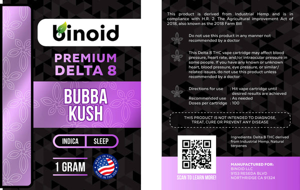 Delta 8 THC Vape Cartridge Bubba Kush Indica Sleep Terpene Flavor