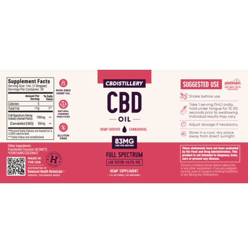 CBDistillery 2500mg for pain anxiety sleep relief label