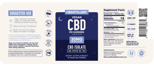 CBDistillery Night-time PM CBD Gummies Label Nutritional Facts Supplement