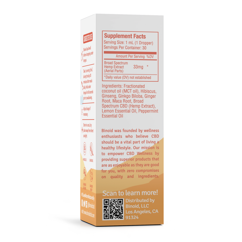 Binoid Calm Day Supplement Facts 1000mg
