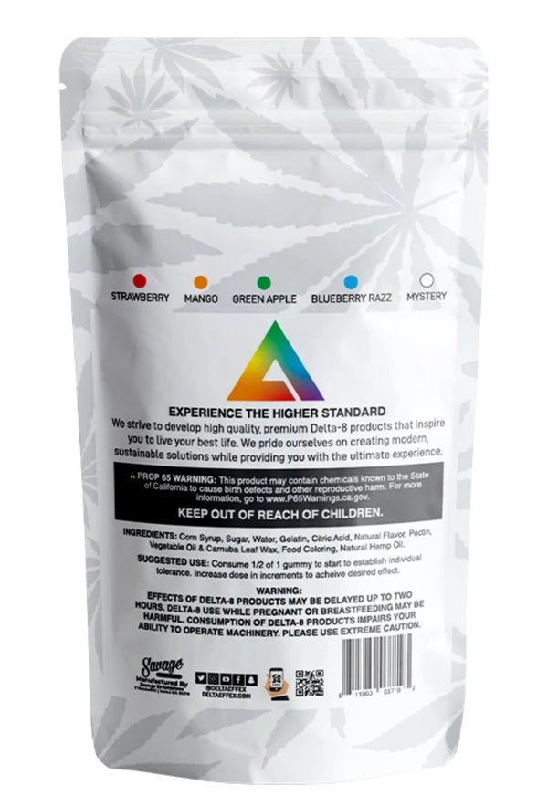 Delta Effex Delta 8 THC Gummies 200mg Rainbow Pack Supplement Facts Packaging Back