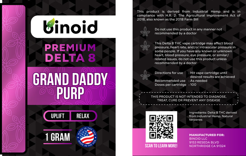 Delta 8 THC Vape Cartridge Buy Online Grand Daddy Purp Legal