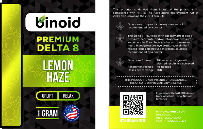 Delta 8 THC Vape Cartridge Buy Online Lemon Haze Legal hemp