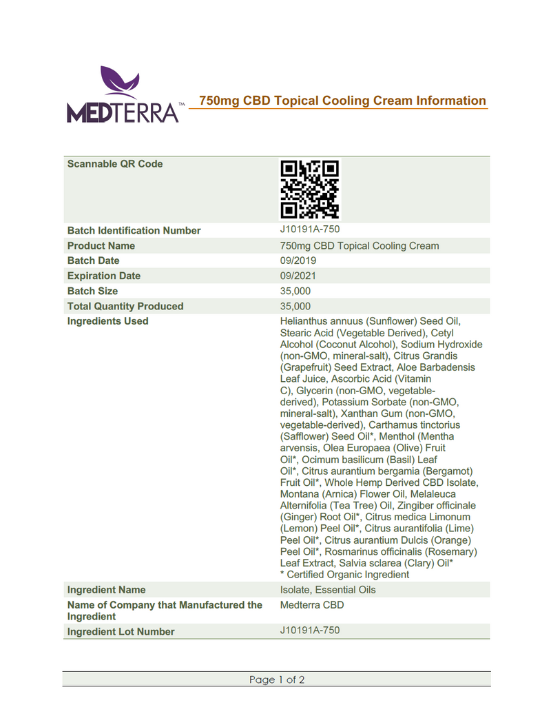 Medterra 750mg CBD Cooling Cream Lab Test Certificate of Analysis